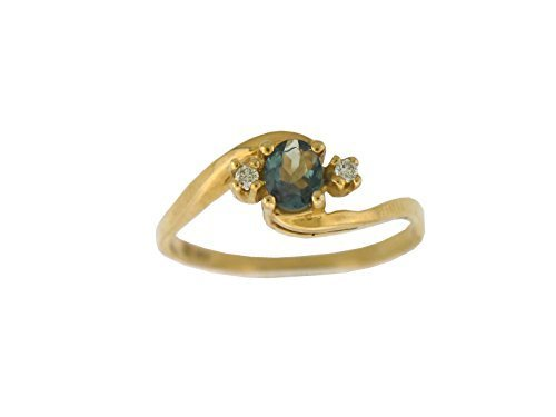 Designed by Ellen Natural Alexandrite Diamond Ring in 14 K Yellow Gold ()