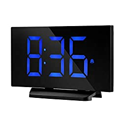 TopElek Digital Alarm Clock, 5'' LED Display Clock with Curved-Screen and Dimmer, Snooze Function, 3 Adjustable Alarm Sounds, Bedside Alarm Clock for Bedroom, Kitchen, Office