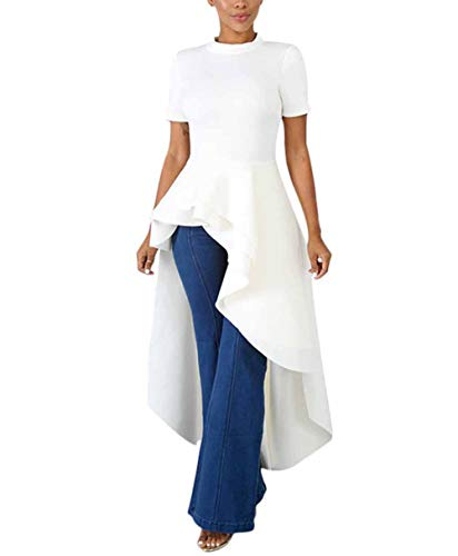Women's Mock Neck Short Sleeve Ruffle Layer Dip Hem Hi-Low Asymmetrical Bodycon Tunic Tops Shirt Blouse Dress White XL
