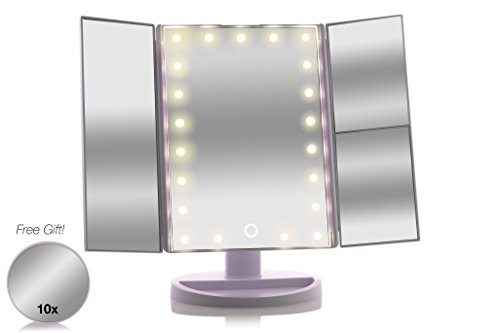 Tri-Fold Lighted Magnification Makeup Mirror | Magnifying Cosmetic Vanity Folding Mirrors for Dresser and Travel with a FREE 10X Spot Mirror | 21 LED Lights & Touch Controls | 1X/2X/3X (Good Dressing Up Ideas)