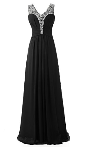Kleider Abend Brautjungfer Damen Prom Kmformals Beaded Schwarz wgAXP6