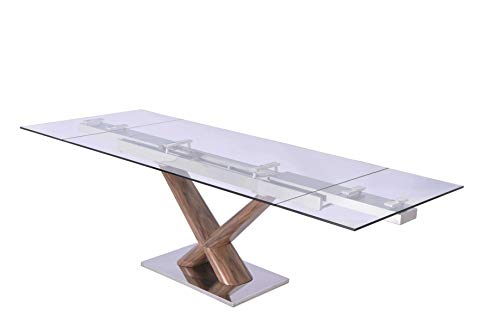 "HomeRoots Extendable Dining Table, 1/2"" Tempered Clear Glass Top, Birchwood Legs with Walnut Veneer,"