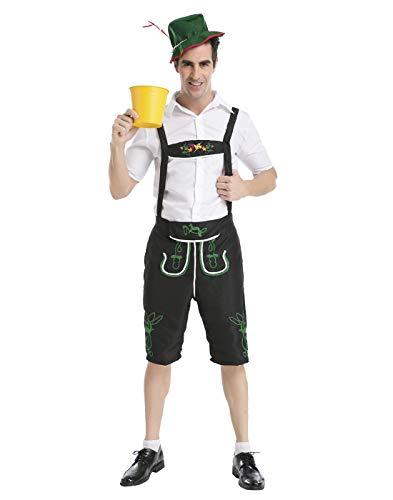 HDE Men's Oktoberfest Halloween Costume Lederhosen Shorts Adult Sized German Beer Hall Outfit (Large) -