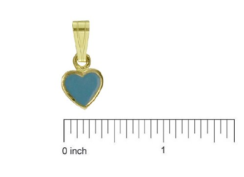 18K Yellow Gold Blue Enamel Heart Charm 5mm//11mm with Bail