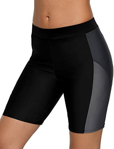 CharmLeaks Women High Waist Boyleg Swim Shorts Color Block Bike Shorts Grey ()