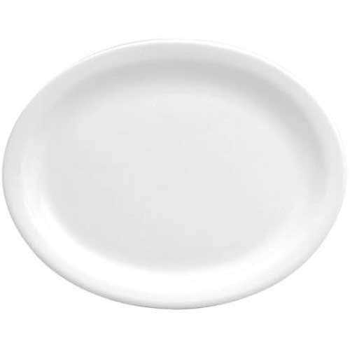 Buffalo Bright White Narrow Rim Platter, 13 1/8 inch - 12 per case.