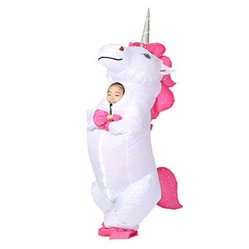 Inflatable Unicorn Costume Kids Pony Horse Fancy Dress for Halloween (Kid White) -
