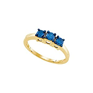 10kt Yellow Gold Womens Round Blue Colored Diamond 3-stone Bridal Wedding Engagement Ring (1/2 cttw.)