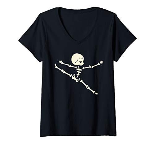 Womens Skeleton Gymnastics Art | Funny Great Acrobats art Gift V-Neck T-Shirt ()