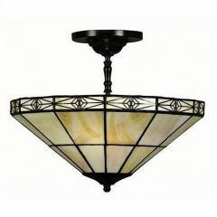 Tiffany-style Geometric Mission-style Hanging Lamp - Mission Tiffany Hanging