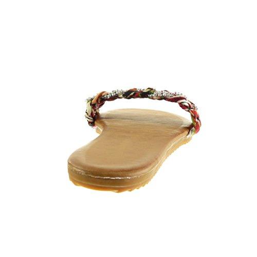 Chaussure Angkorly Tréssé Sandale Tong Mode 5 Strass Diamant 1 Plat cm Talon Lanière Femme Rouge fdRrTdqw