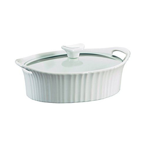 (Corningware French White III Oval Casserole with Glass Cover, 1.5-Quart)
