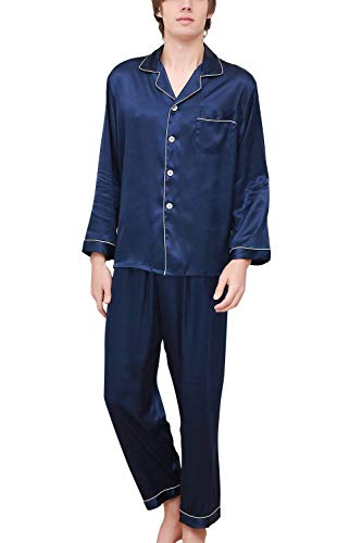 Giovane In Pigiama Estiv Due Saoye Blau Lungo Fashion Uomo Pezzi Raso Da Coppia wIygxOvq5g