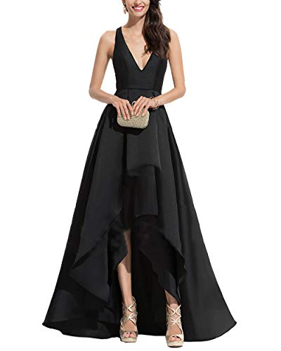 Nicefashion Women's V Neck Sleeveless High Low Formal Dress Cocktail Evening Party Dresses Black US4 ()