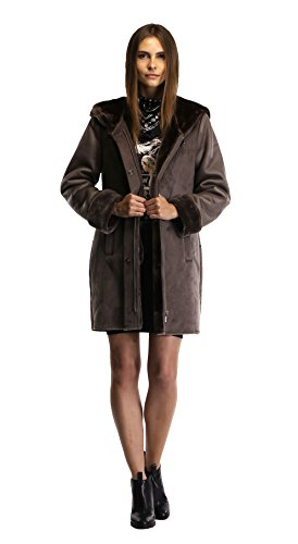 Enjoy fur Women's 2016 New Style Dark Bronze Faux Leather Coat With Hood (X-Large) by Enjoy fur (Image #3)