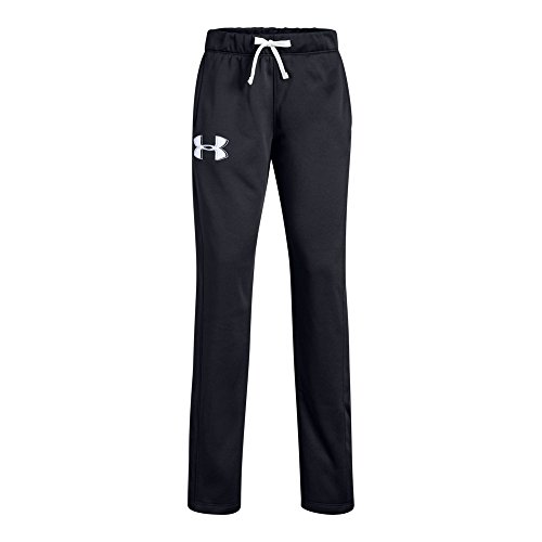 Under Armour Girls Armour Fleece Pants, Black (002)/White, Youth ()