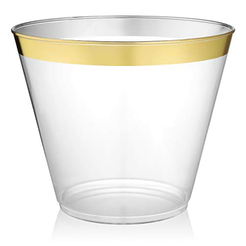 Gold Rimmed Clear Plastic Cups - 9 ounce - 64 Count - Hard Plastic - Disposable or Reusable - Old Fashioned Plastic Tumblers - Wine Cups - Cocktail Glasses - Drinking Cups - Gold Trim Wedding Tumblers