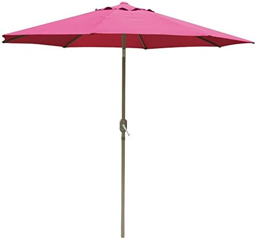 go2buy Patio Umbrella Market Aluminum Umbrella with Push Button Tilt W Crank Outdoor 10-Feet Burgundy