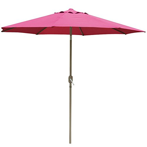 102' Aluminum Umbrella (go2buy Patio Umbrella Market Aluminum Umbrella with Push Button Tilt W/ Crank Outdoor (10-Feet Burgundy))