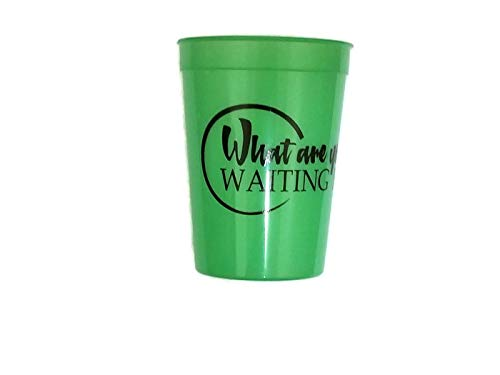 Zen Unlimited Trades What Are You Waiting For? BPA Free Color Changing Plastic Stadium Inspirational Mood Cup Tumblers - Set of 6 Green and Blue