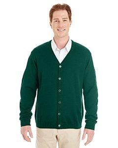 Sweater Vest Performance V-neck (Harriton Mens Pilbloc V-Neck Button Cardigan Sweater (M425) -HUNTER -XL)