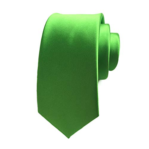 Men's Solid Color Tie Silk Necties Skinny Slim Neck Tie 2.4'' (6cm) + Gift Box Lime Green