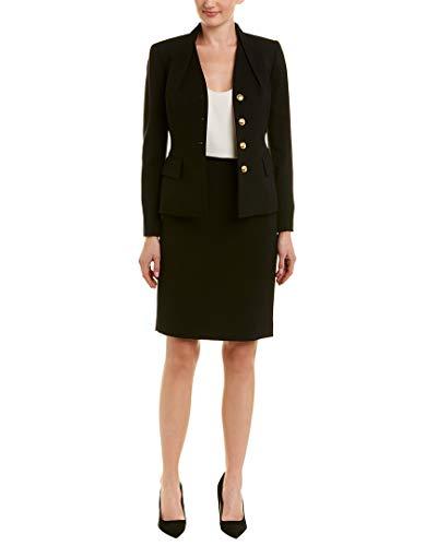 Tahari by ASL Women's High Neck Reverse Pleat V-Neck Four-Button 2 Flap Pocket Skirt Suit Black 8 ()