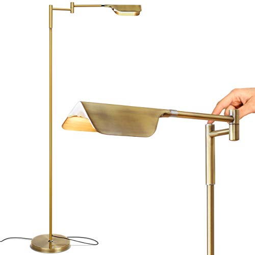 Brightech - Leaf Touch LED Floor Lamp for Reading, Crafts & Precise Tasks - Standing Modern Pharmacy Bright Light for Living Room, Sewing - Great by Office Desks & Tables - Antique Brass Arm Led Floor Lamp