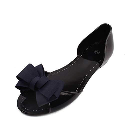 Women Beach Jelly Shoes Woman Summer Flip Flops Bowtie Slippers Slip On Flats Casual Women Shoes,Blue,6 ()