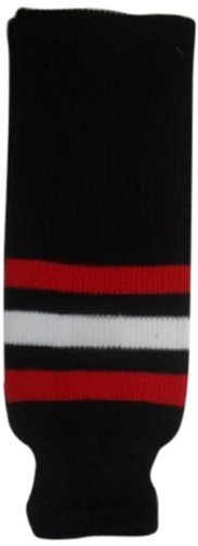 DoGree Hockey Chicago Blackhawks Knit Hockey Socks, Black/Red/White, Junior/24-Inch