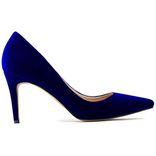 Mouth Blue Womens Pointed High Toe Toe Stiletto Shoes Xianshu Pumps Shallow Suede Pointed Heel zqFdxOw