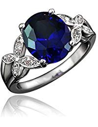 BLOOMCHARM ''My Vow'' 18K White Gold Plated Cubic Zirconia Eternity Ring, Gifts for Women Girls (Navy Blue, 7)
