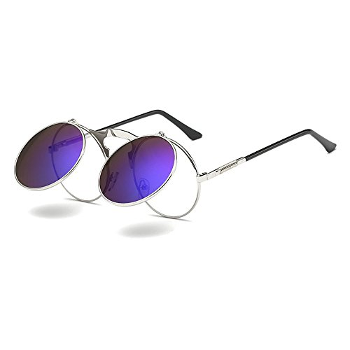 Mmrm Steampunk Style Round Flip Up Mirror Sunglasses Metal Frame UV400 Spectacles