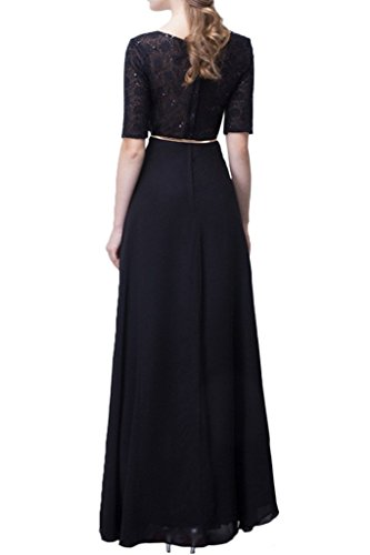 Sunvary elegante 2016a-line scoop cinturón encaje Appliques Prom noche fiesta negro
