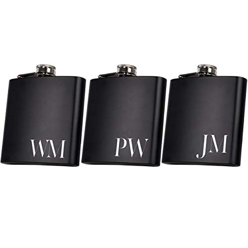 Set of 6, Set of 3, Single - Personalized Flask, Groomsmen Gift, Customized Groomsman Flasks, Wedding Favors, Matte Black, Design 2 (3)
