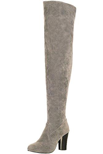 Hautes De Automne Cuissardes Bottes Hiver Casual Femme Hauts Talons BIGTREE Bottes qq8147