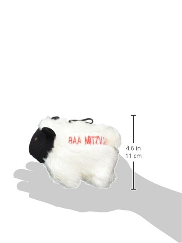 Picture of Copa Judaica Chewish Treat Baa Mitzvah Squeaker Plush Dog Toy, 6.5 by 4-Inch, Black and White