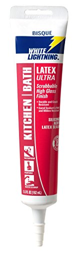 white lightning product wl0002715 5.5 OZ, Bisque, Solvent Kitchen & Bath Caulk, Premium High Gloss Sealant