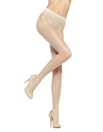 HUE Women's So Sexy French Lace Sheer Control Top Pantyhose (Pack of 3), natural, -