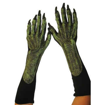 Zagone Witch Gloves, Green Latex Hands, Black Cotton Gloves