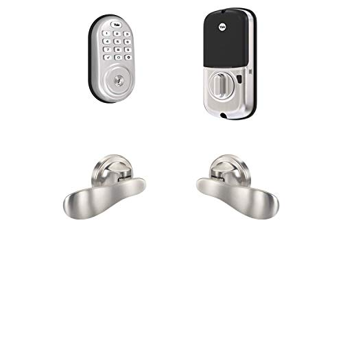 Yale Security B-YRD216-ZW-NV-619 Yale Assure Lock Z-Wave with Navis Paddle-Works with Ring Alarm, Smartthings, and Wink Smart Keypad Deadbolt with Matching Lever, Satin Nickel