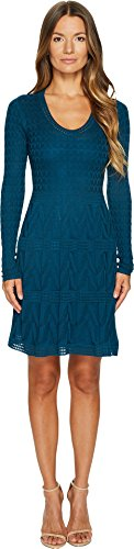 M Missoni Women's Solid Knit Scoop Neck Long Sleeve Dress Teal 44 -