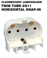 Leviton 13454 CFL Lampholder 4-Pin 2G11 Base 18W-55W Snap-In Horizontal Mount - White (Package of 5)
