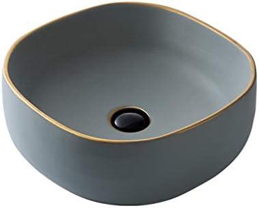 DS- (タップなし)バスルームの洗面台、正方形セラミックシンクの洗面化粧台の家庭用カウンター流域単一流域、39X39X13cm 洗面ボール && (Size : 39X39X13cm)