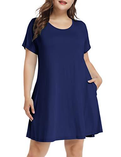 LARACE Women's Short Sleeve Swing Tunic Casual Pockets Loose T Shirt Dress (Medium, A-Short Navy Blue)