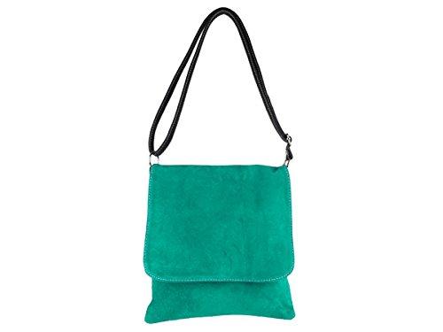 Scarlet Bijoux–Bandolera de ante en diferentes colores 25x 28x 6cm (B X H X T) Verde