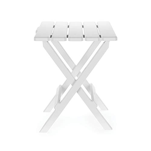 Camco 51695 White Large Adirondack Portable Outdoor Folding Side Table, Perfect for The Beach, Camping, Picnics, Cookouts and More, Weatherproof and Rust Resistant (Wooden Small White Table)