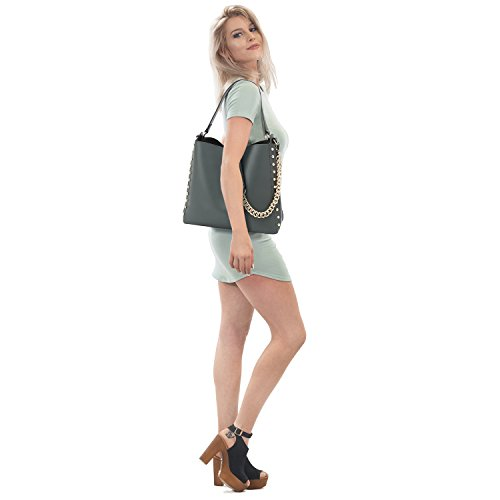 Bag Hobo Bags Classic Trimmed Pouch Studs Handbag w Bag Shoulder Fashion Bag Set Matching Grey 2 W46qyRa0R