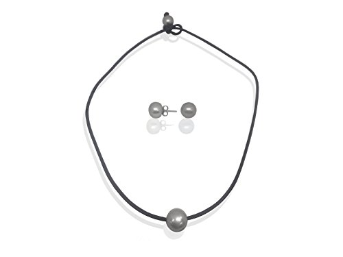 Fronay Collection Genuine Black Leather Necklace and Earring Set - Cultured Freshwater Pearl Stud Earrings and Choker Pendant from Fronay Collection
