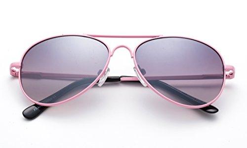 Newbee Fashion Kids Toddler Girls Cute Neon Colorful Aviator Sunglasses Lead Free UV Protection Spring Hinge (Age 1-5)